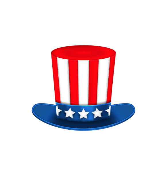 Uncle Sam's Hat for American Holidays, Isolated on White Illustration Uncle Sam's Hat for American Holidays, Isolated on White Background - Vector surface to air missile stock illustrations