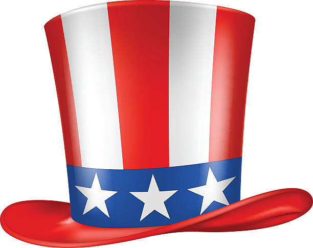 Uncle Sam's Hat. Uncle Sam's hat. Vector illustration. Three quarters view. surface to air missile stock illustrations