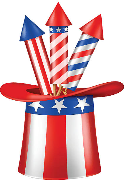 uncle sam's hat with three rockets in it. independence day. - family 4th of july 幅插畫檔、美工圖案、卡通及圖標