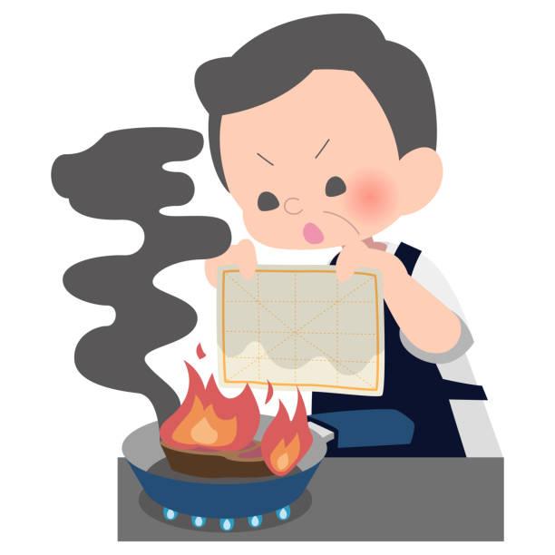 onkel, ein feuer in einem feuchten geschirrtuch löschen - hausmannskost stock-grafiken, -clipart, -cartoons und -symbole