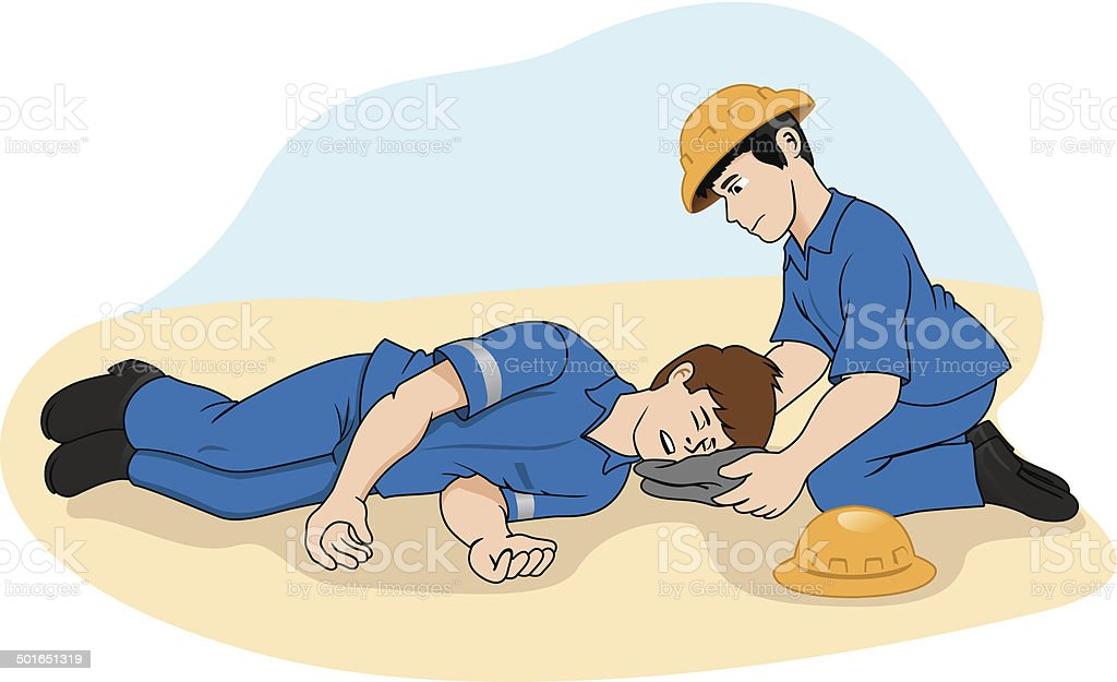 Unconscious person support the head vector art illustration