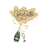 istock Uncork bottle with champagne and congrats inscription 1237810856