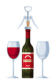 Uncorked bottle with corkscrew in cork and two glasses. Glassware filled with wine and empty. Holiday toast. Restaurant menu design. Serving for couples. Cartoon isolated on white. Vector illustration