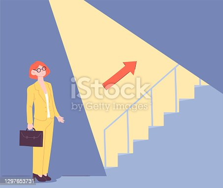 Uncovering career steps abstract concept. Light beam uncovering hidden stairs. Business metaphor. Flat cartoon vector illustration