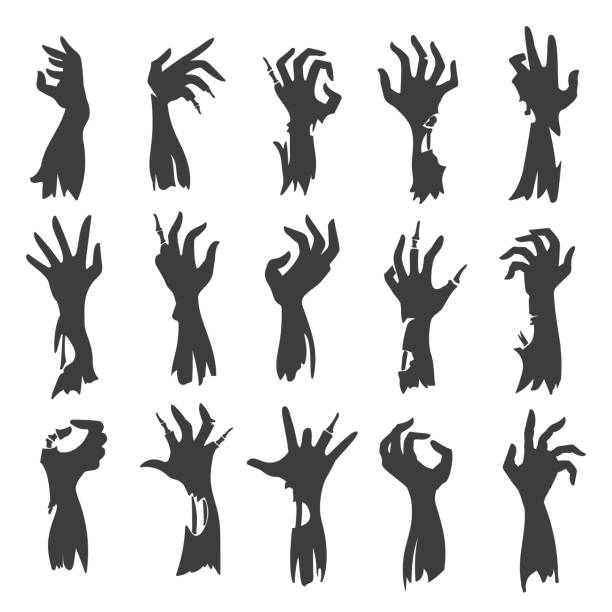 Undead zombie hand silhouettes Undead zombie hand silhouettes isolated on white background. Dead hands fear scary halloween black creepy vector silhouette set shock stock illustrations