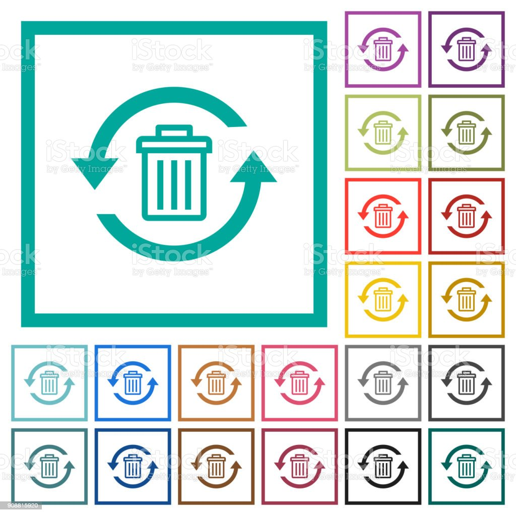 Undelete flat color icons with quadrant frames