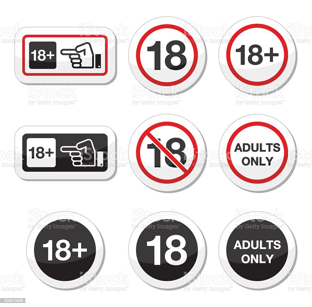 Under 18, adults only warning sign vector art illustration