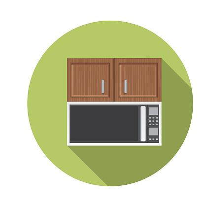 Under Cabinet Microwave Flat Design Kitchen Icon