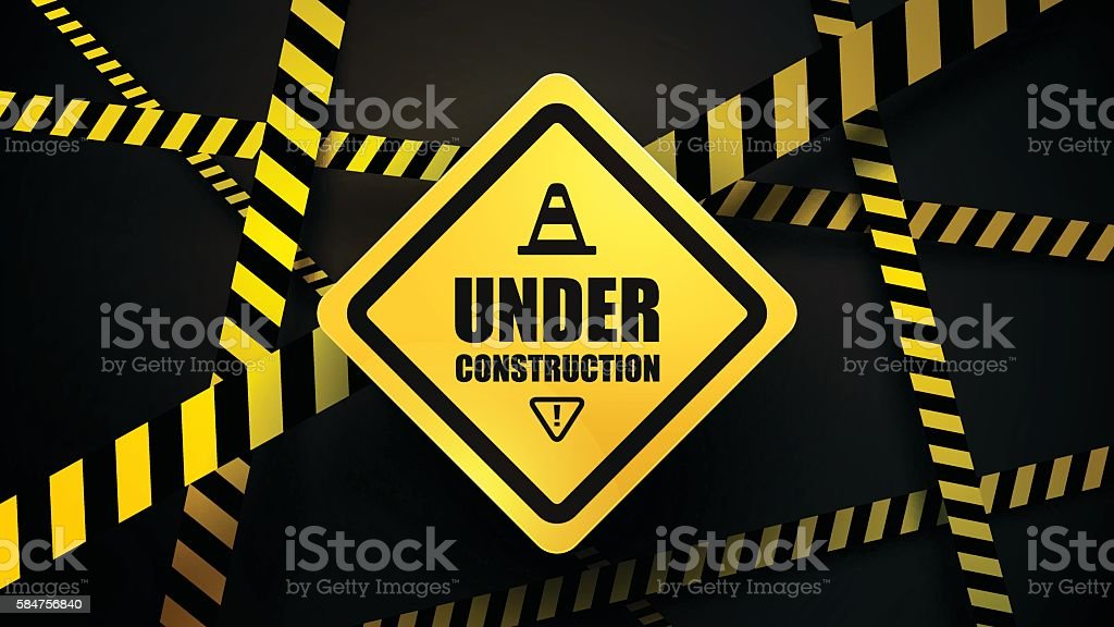 Under construction and police line vector art illustration