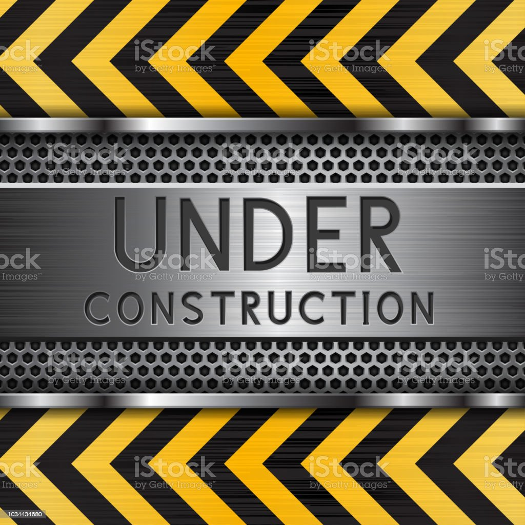 Under construction background. Metal texture with yellow elements vector art illustration