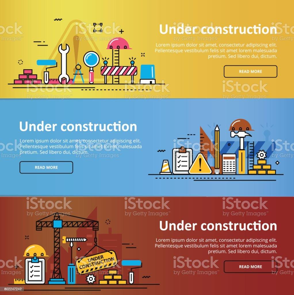 Dans le cadre de constructions bandeau coloré de processus de construction - Illustration vectorielle