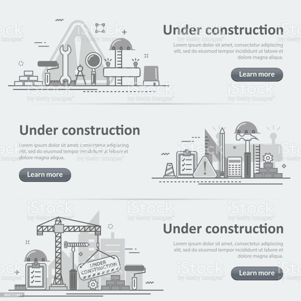 Em construção edifício processo web cabeçalho banner conjunto - ilustração de arte em vetor