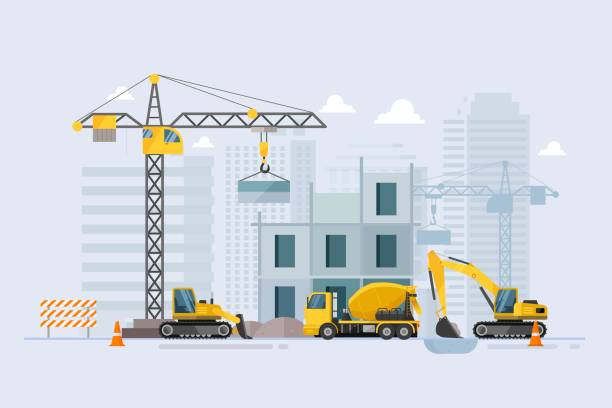 Under construction Building work process with construction machines. Vector illustration Under construction Building work process with construction machines. Vector illustration construction site stock illustrations