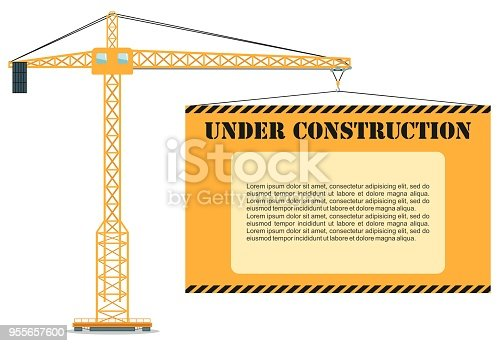 Detailed illustration of colored tower crane white board. Heavy equipment and machinery. Vector illustration.