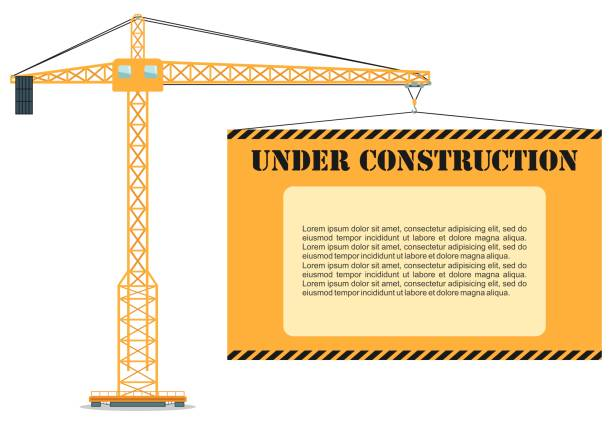 Under construction concept. Building industrial tower crane with poster. Heavy equipment and machinery. Vector illustration. vector art illustration