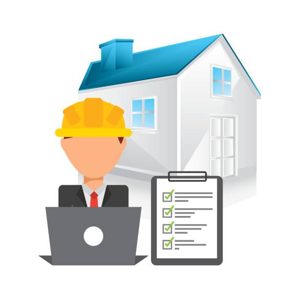bildbanksillustrationer, clip art samt tecknat material och ikoner med under konstruktion design - man architect computer