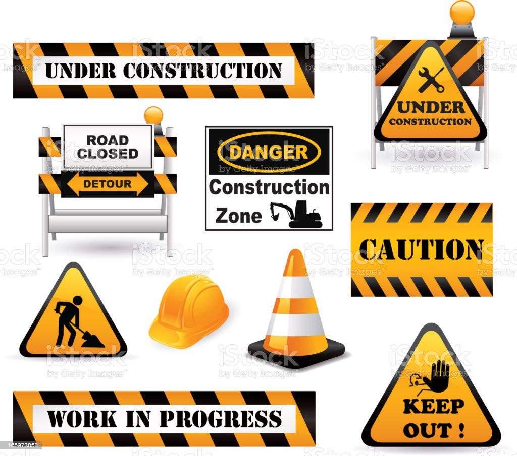 Under construction elements vector art illustration
