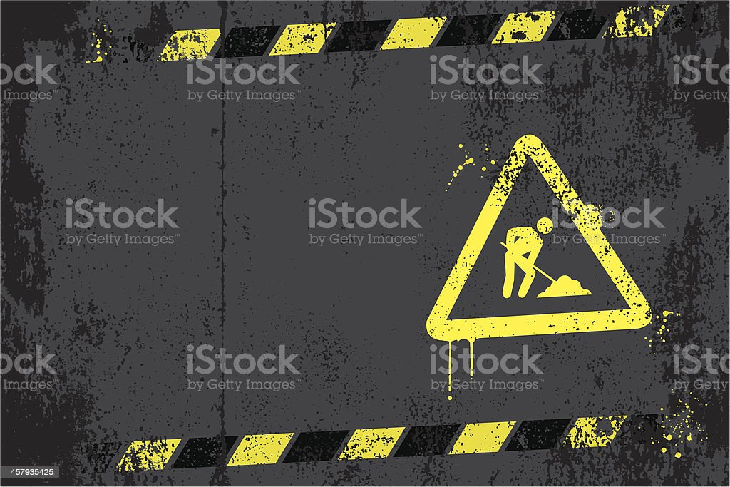 Under construction graffiti vector art illustration