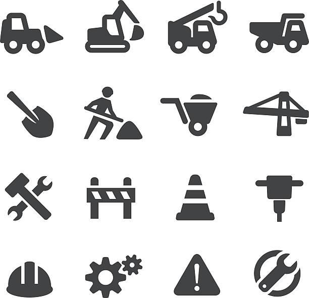 stockillustraties, clipart, cartoons en iconen met under construction icons - acme series - shovel