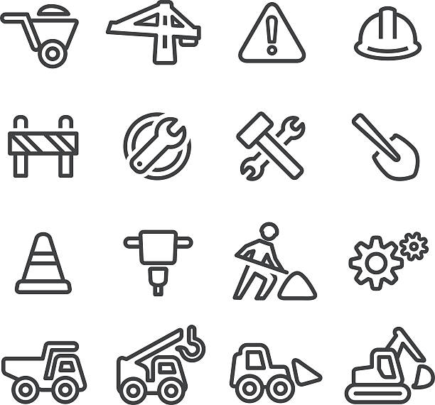 stockillustraties, clipart, cartoons en iconen met under construction icons - line series - shovel