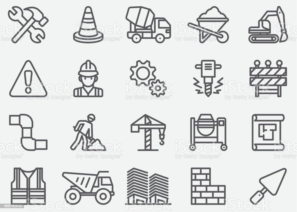 Under Construction Line Icons vector art illustration