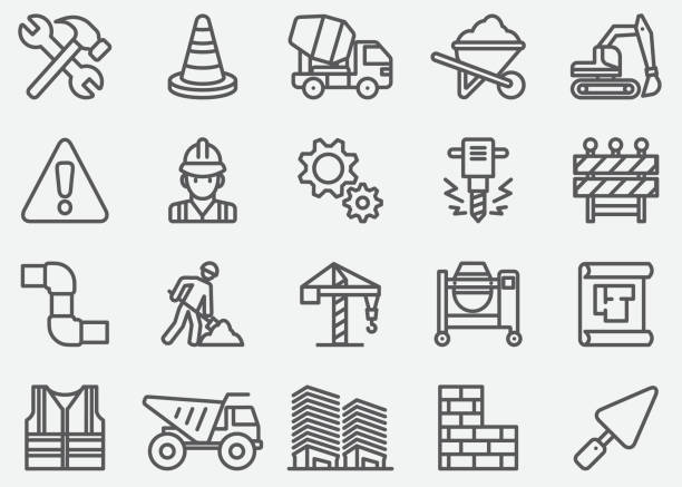 under construction line icons - konstrukcja budowlana stock illustrations