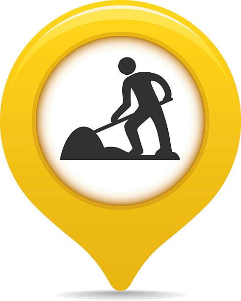 Under construction map pointer vector art illustration