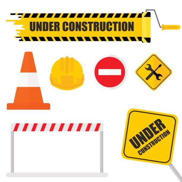 illustrations, cliparts, dessins animés et icônes de en cours de construction set - chantier
