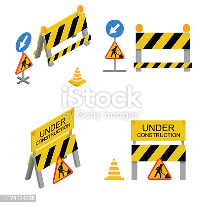 Under Construction Sign 3d Icon Set Isometric View Include of Cone and Barrier. Vector illustration of Roadside Signs Icons