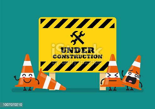Under construction sign and traffic cones character. Vector illustration
