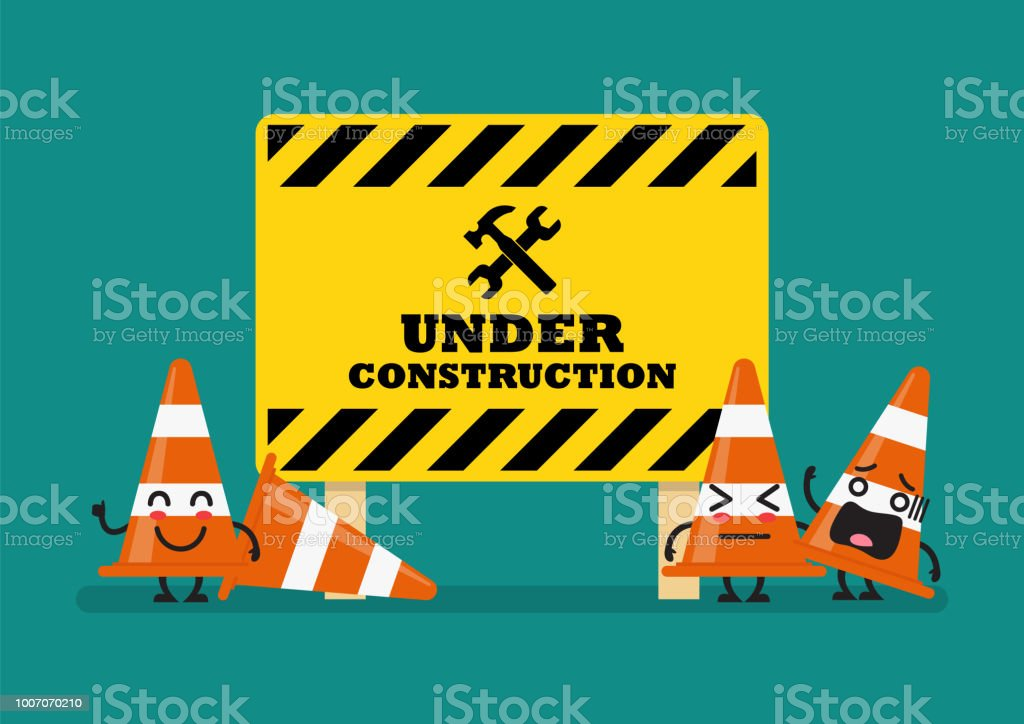 Under construction sign and traffic cones character vector art illustration