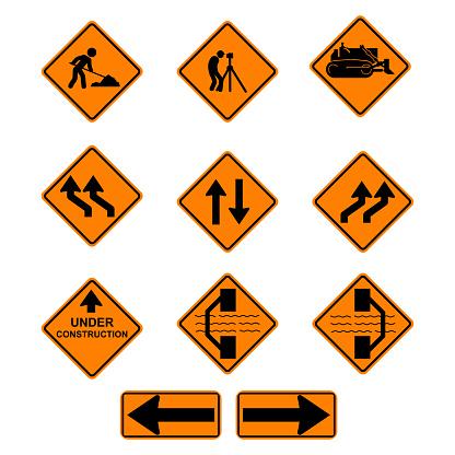 Under Construction Sign Collection, Traffic road repair set. Vector ESP10.