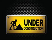 Vector of Under Construction Sign with texture background effect.
