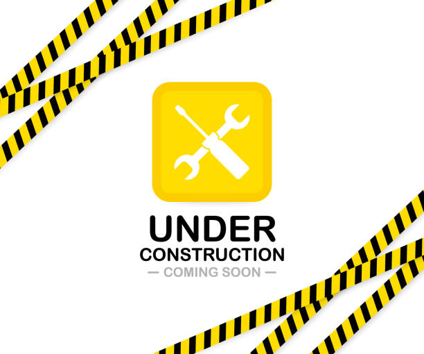 under construction sign. vector illustration for website. - konstrukcja budowlana stock illustrations