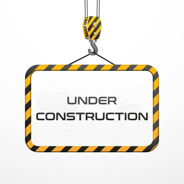 Under construction sign with hook on plain background Vector building frame under construction with hook exercise machine stock illustrations