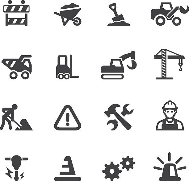 under construction silhouette icons - machine stock illustrations, clip art, cartoons, & icons