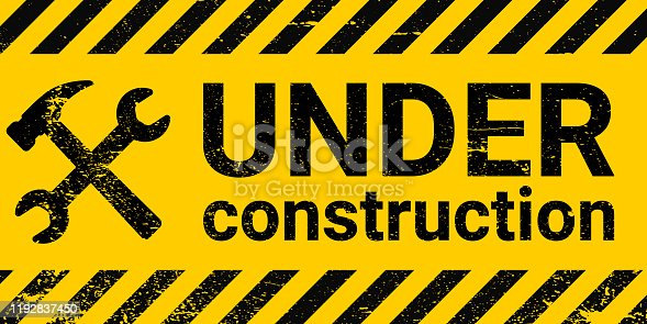 under construction site banner sign, vector black and yellow diagonal stripes under construction, hammer and wrench repair sign with grunge texture