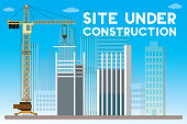 under construction site with building and crane,city view on background,error 404,flat vector illustration