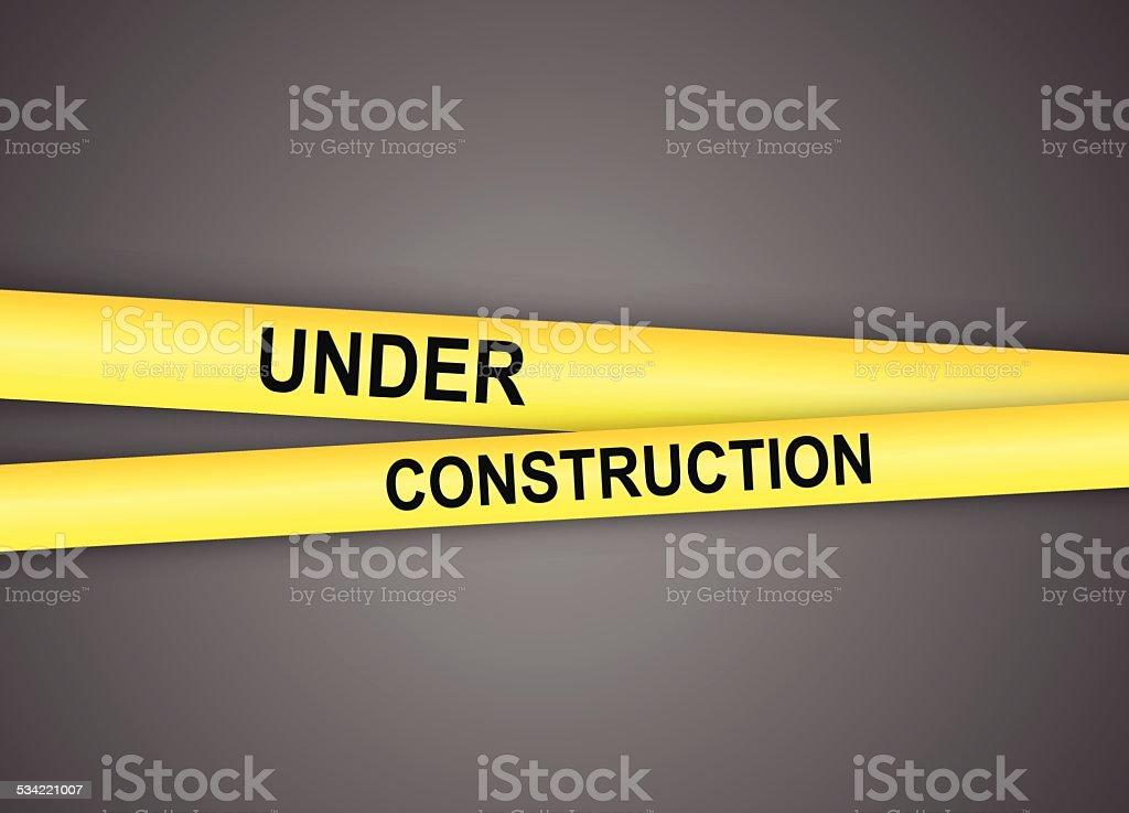 Under construction tapes vector art illustration