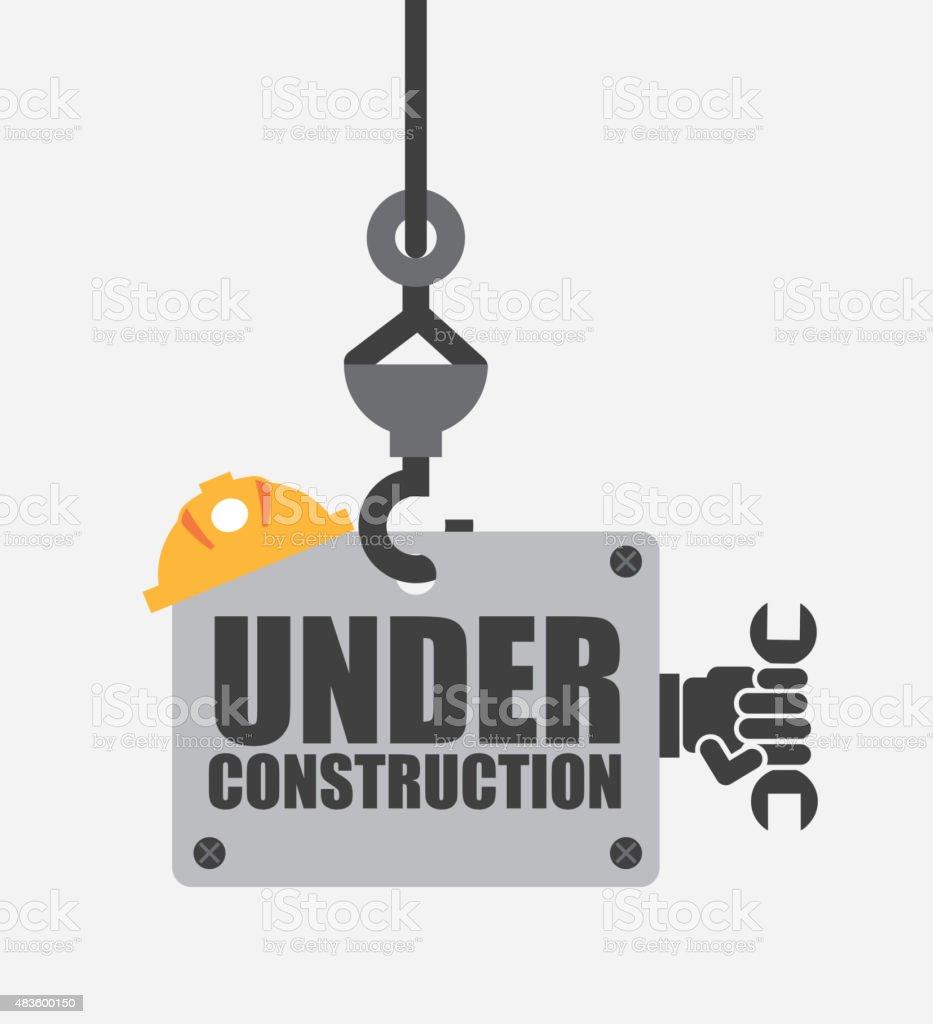 under construction vector art illustration