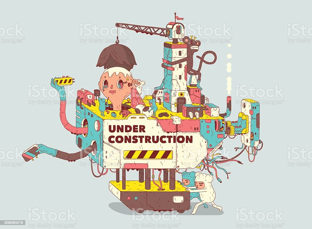 Under Construction Under Construction illustration. Include editable eps10 vector file, jpg and psd files. Adult stock vector