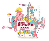 Under Construction Web Site Illustration.