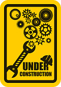 Vector Illustration of a Under Construction Warning Poster