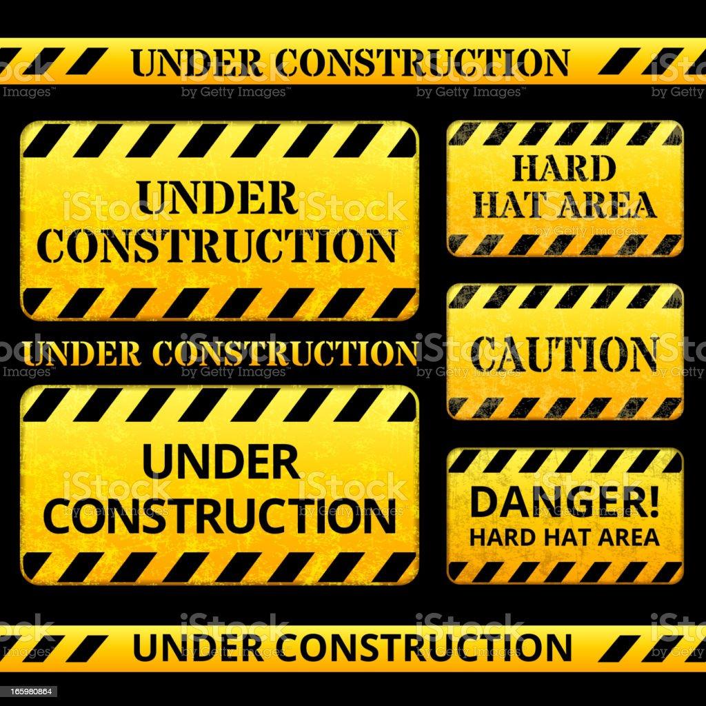 under construction warning sign vector art illustration