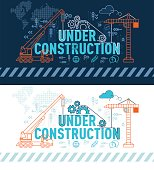 Under construction website banner concept with thin line