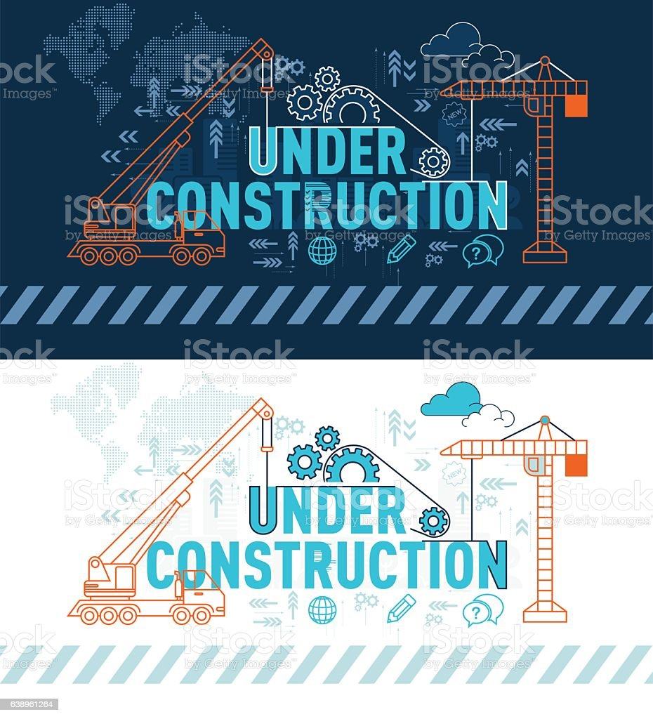 Under construction website banner concept with thin line vector art illustration