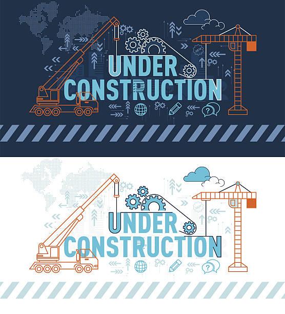 ilustrações, clipart, desenhos animados e ícones de under construction website banner concept with thin line - infográficos de site