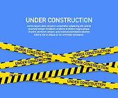 Under construction website page with black and yellow striped borders. Border stripe web. Vector stock illustration.