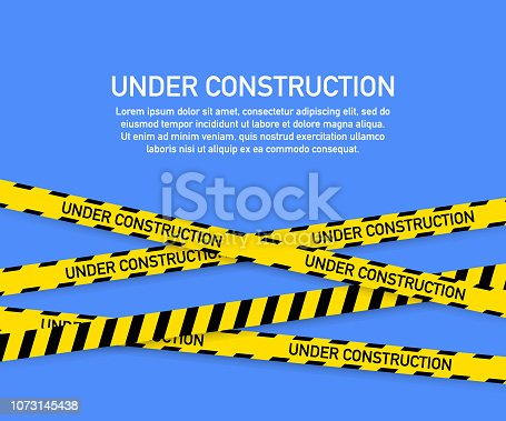 istock Under construction website page with black and yellow striped borders. Border stripe web. Vector illustration. 1073145438