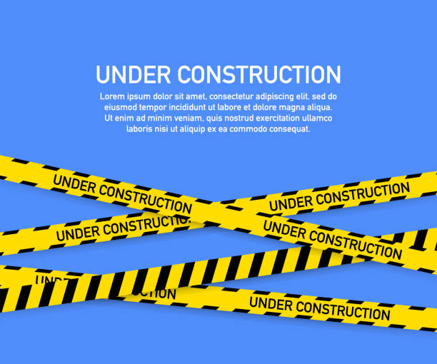 Under construction website page with black and yellow striped borders. Border stripe web. Vector illustration. Under construction website page with black and yellow striped borders. Border stripe web. Vector stock illustration. construction site stock illustrations